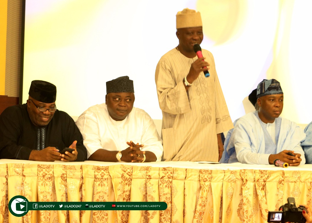 Hon Sikirulai Ogundele gives his speech...says Ogun PDP members are committed to the success of the party