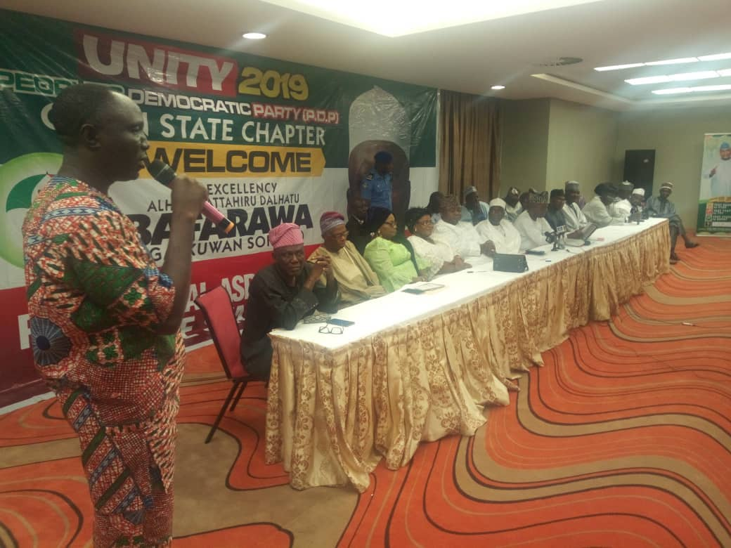 Omooba Sunday Solarin FCA directing the affairs of the meeting during Barafawa Consultation to Ogun PDPOmooba Sunday Solarin FCA directing the affairs of the meeting during Barafawa Consultation to Ogun PDP