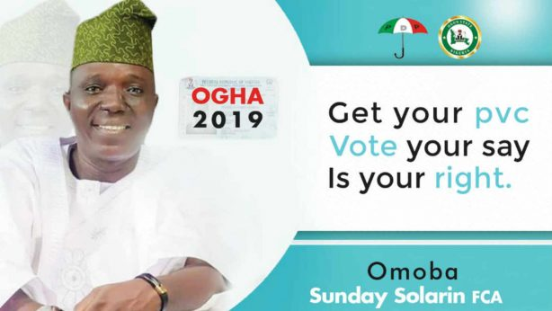 Omooba Sunday Solarin FCA for Ogun State House of Assembly (OGHA) 2019