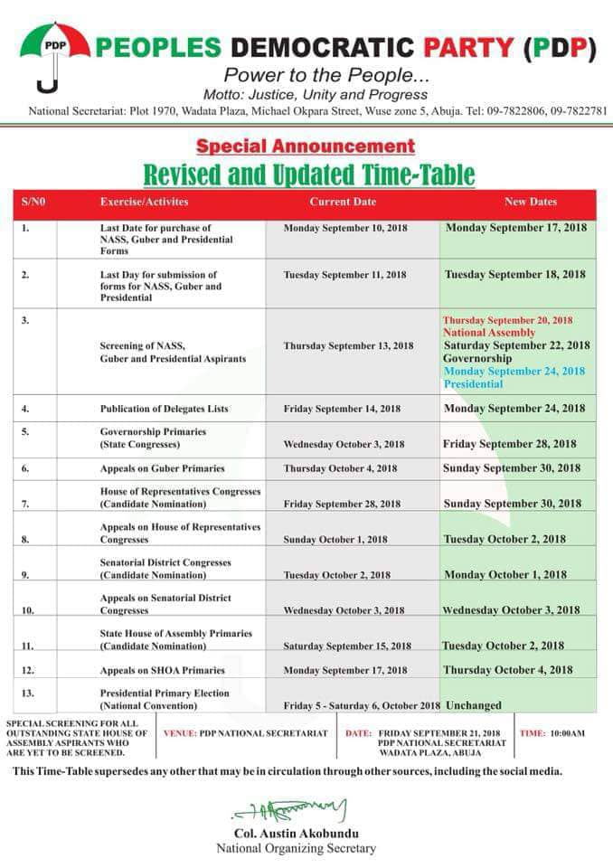 Peoples Democratic Party PDP Revised & Updated Time-Table for 2018 Primaries