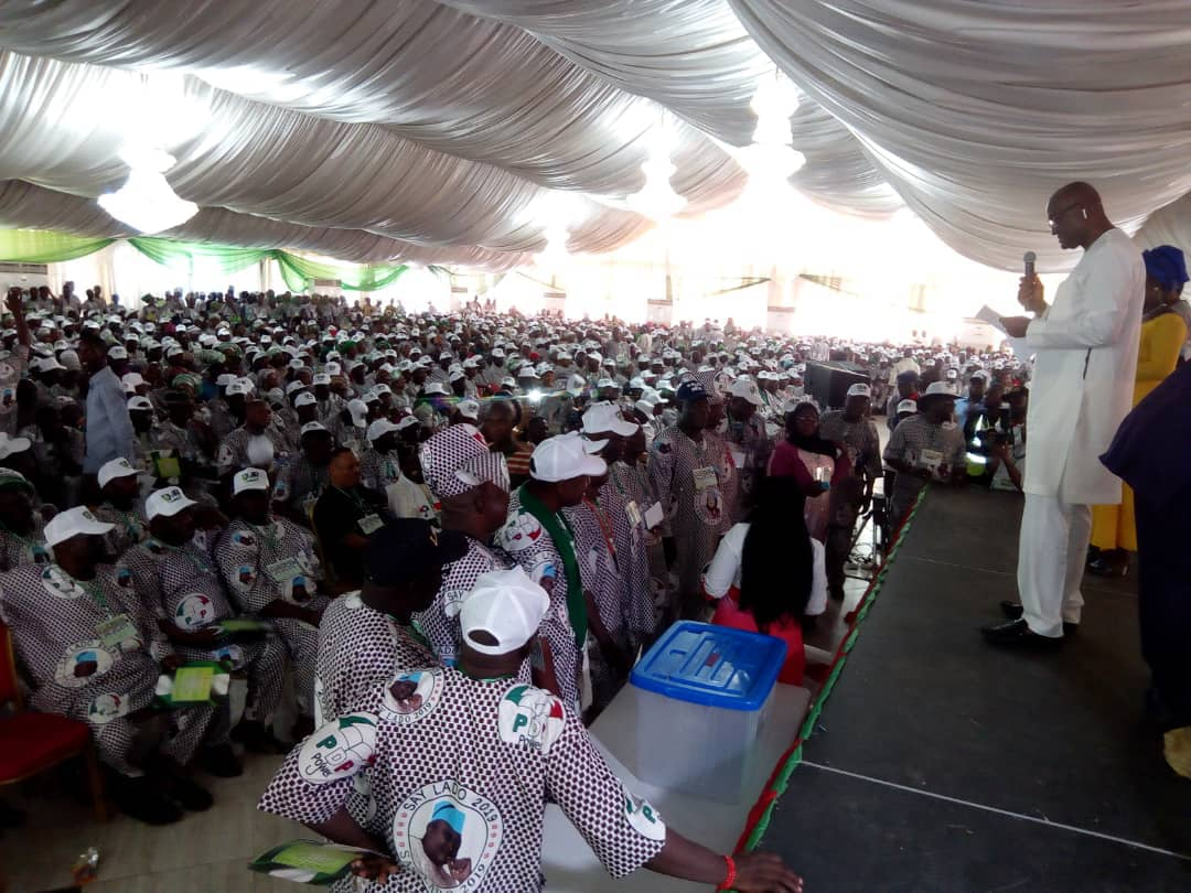 Cross-section of participants being addressed at the 2018 Ogun PDP Gubernatorial Primary in Abeokuta