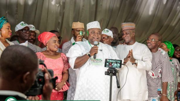 Hon Ladi Adebutu delivers his acceptance speech while wife Yeye Adenike Adebutu looks on