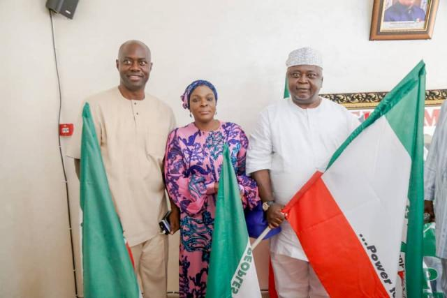 Hon Ladi Adebutu receives PDP Official Governorship Flag for Ogun State