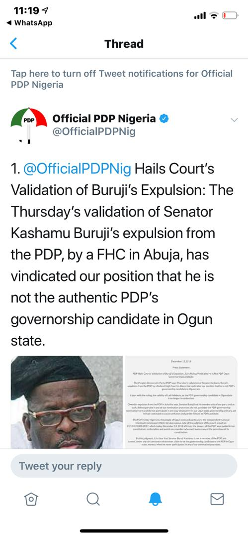 Official PDP Twitter Handle - Court reaffirms Kasamu's Expulsion from PDP