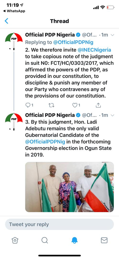 Official PDP Twitter Handle - Hon Ladi Adebutu remains the only valid Gubernatorial Candidate
